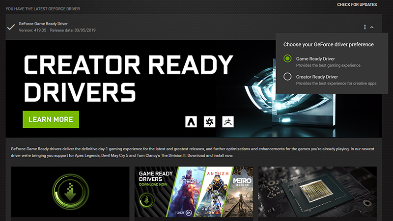 Nvidia releases Creator Ready drivers, because creatives use GeForce, too