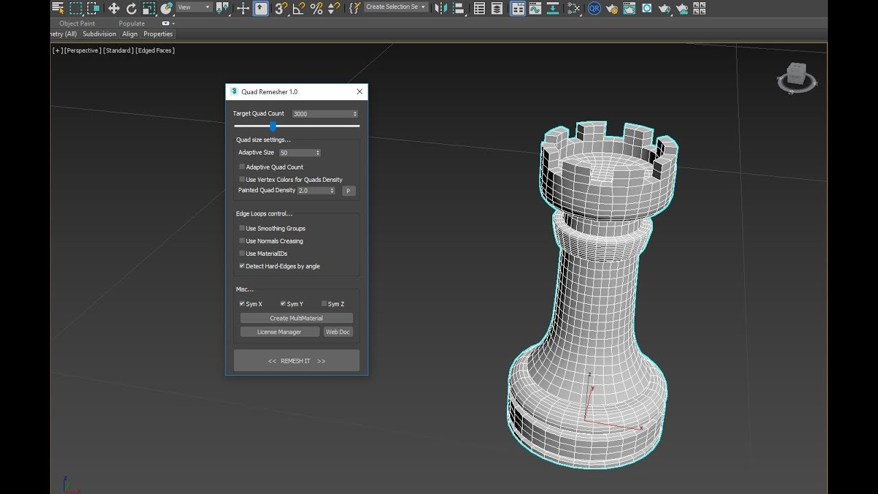 QuadRemesher tool released for Max, Maya and Modo