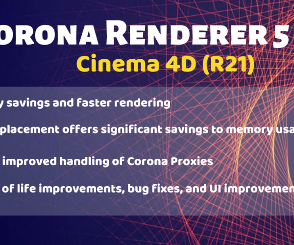 [Updated render farm]Corona Renderer 5 for Cinema 4D (R21)
